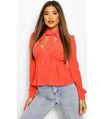 geweven peplum blouse met strik, oranje
