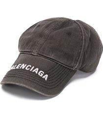balenciaga embroidered-logo cap - black