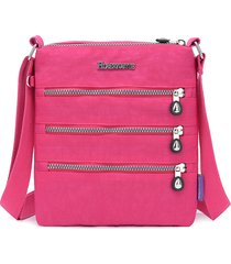 donna nylon multi-pocket per il tempo libero crossbody borsa solid shoulder borsa