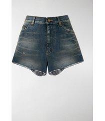saint laurent high waisted denim shorts