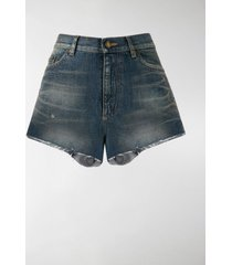 saint laurent high waisted denim shorts