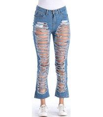 jeans strappati casual di colore puro