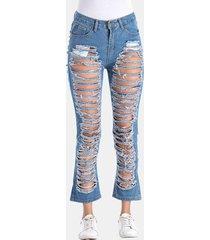 jeans strappato casual puro colore puro