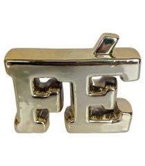 enfeite decorativo fé dourado em cerâmica 12 cm - interponte