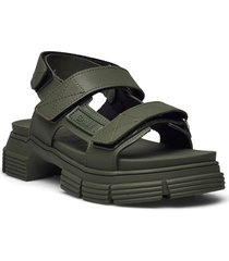 recycled rubber shoes summer shoes flat sandals grön ganni