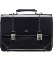 mancini signature collection dual lock double compartment laptop and tablet briefcase