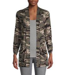 camouflage-print cardigan