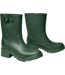 botas de lluvia impermeables stretch caña media mujer verde militar