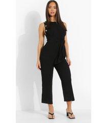 culotte jumpsuit met knoop detail en ceintuur, black