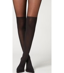 calzedonia side bow longuette effect tights woman black size 3/4