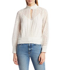 frame women's eyelet party top - off white - size s