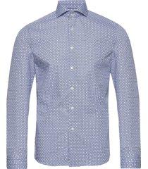 block print poplin shirt overhemd business blauw eton