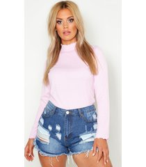 plus rib high neck lettuce hem sweater, pale pink