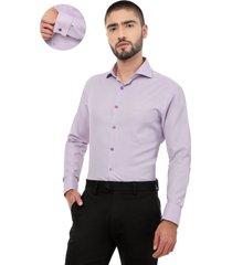 camisa manga larga los caballeros puño para mancornas lila