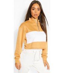 colour block zip neck drawstring crop sweatshirt, camel