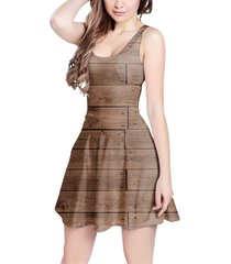 reclaimed floorboards wood pattern sleeveless dress