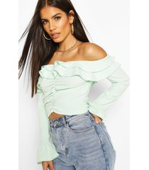 scuba crepe ruffle off shoulder top, mint