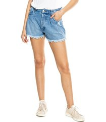 high waist denim shorts con ruedo desflecado color blue