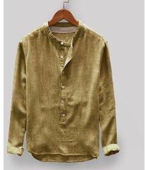 nueva moda hombre sudadera otoño invierno botón casual lino y-amarillo
