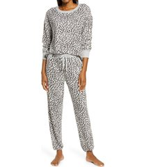 women's splendid long sleeve pajamas, size x-small - ivory