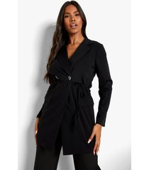 gedrapeerde neon blazer jurk, black
