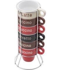 conjunto 6 xícaras p/café porcelana c/suporte names 70ml