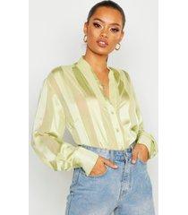 satin stripe button through blouse, sage