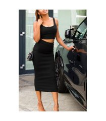 sexy set crop-top en midi rok zwart