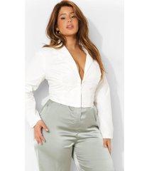 plus getailleerde blouse met haakjes, white