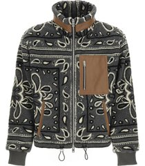 amiri sherpa fleece jacket with bandana print