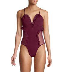 chaser women's ruffle-trim one-piece swimsuit - pomegranate - size l