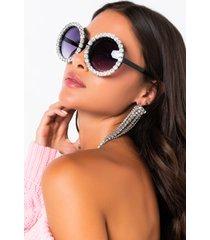 akira hua rhinestone round sunglasses
