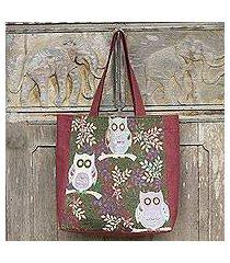 cotton blend tote bag, 'playful owls' (thailand)