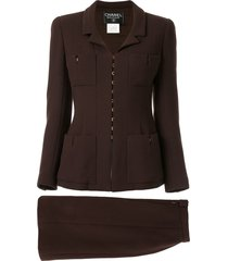 chanel pre-owned two-piece skirt suit - brown