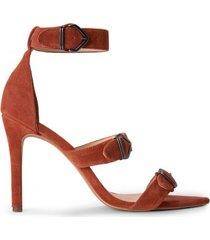 amaro feminino sandália bico fino fivelas, caramelo