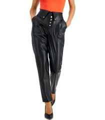 bar iii faux-leather button-front pants, created for macy's