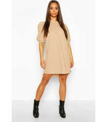 crew neck swing dress with puff sleeves, camel