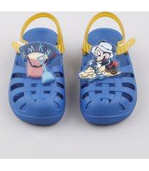 sandália infantil grendene mickey com tiras azul