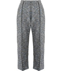 coohem tweed cropped trousers - grey