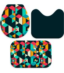 jogo tapetes love decor para banheiro colorful polygonal multicolorido ãšnico - verde - dafiti