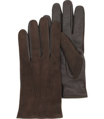forzieri designer men's gloves, brown touch screen leather men's gloves