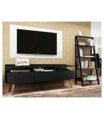 rack londres, estante escada e painel para tv até 55 polegadas madesa preto/branco