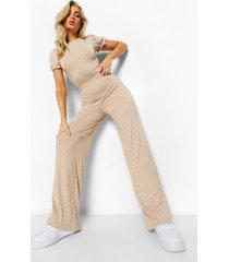 culotte jumpsuit met opdruk en rug strik, stone