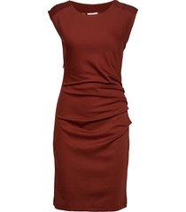 india round-neck dress knälång klänning röd kaffe