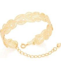 bracelete aro aberto folhas vazadas rommanel