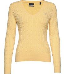 stretch cotton cable v-neck gebreide trui geel gant