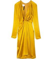 double faced satin v-neck dress in mustard