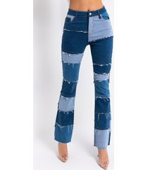 akira molly patchwork flare jeans