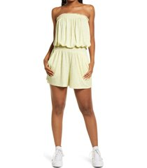 women's bp. print off the shoulder romper, size x-small - yellow