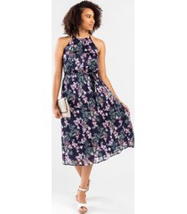 britt floral high neck midi dress - navy